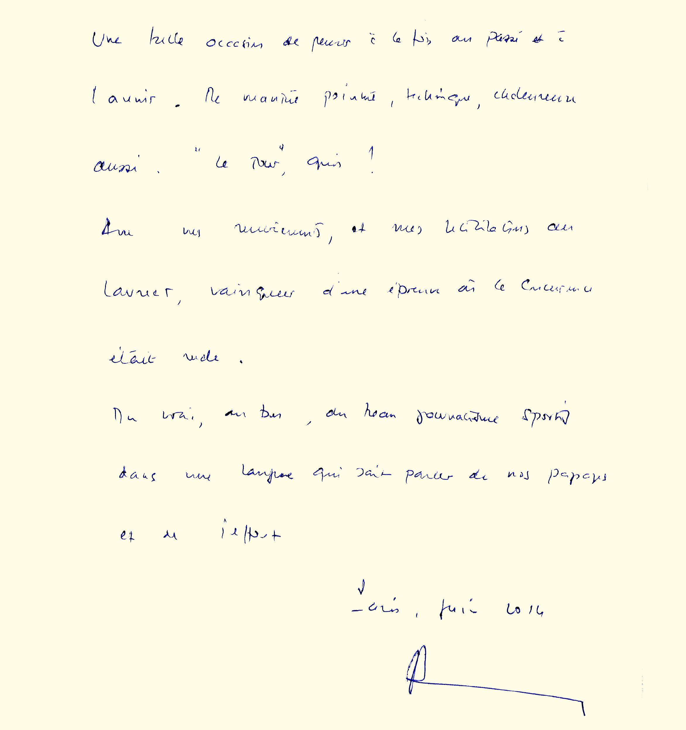 Livre d'or : dédicace de Pascal Lamy