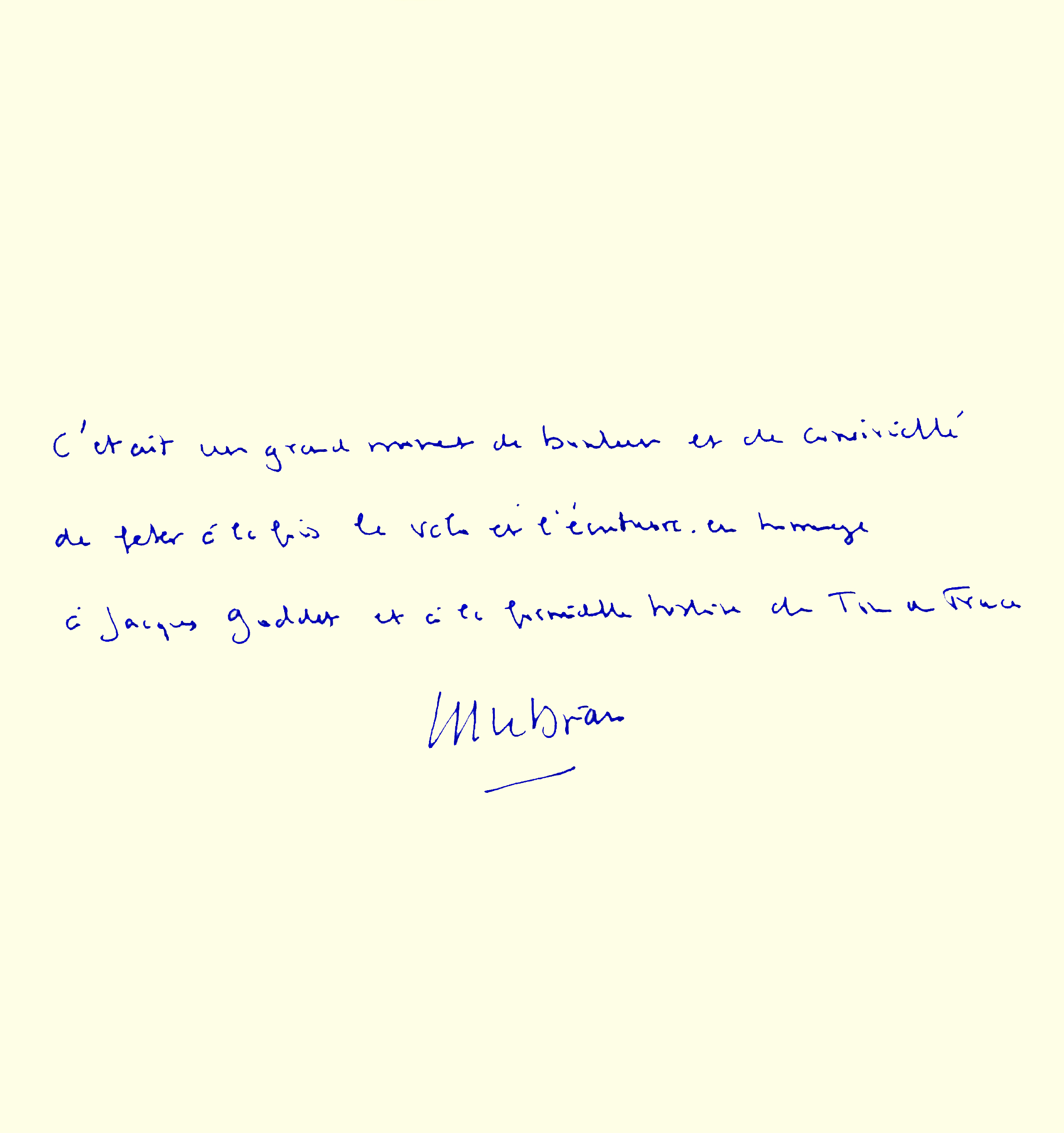 Livre d'or : dédicace de Jean-Yves Le Drian