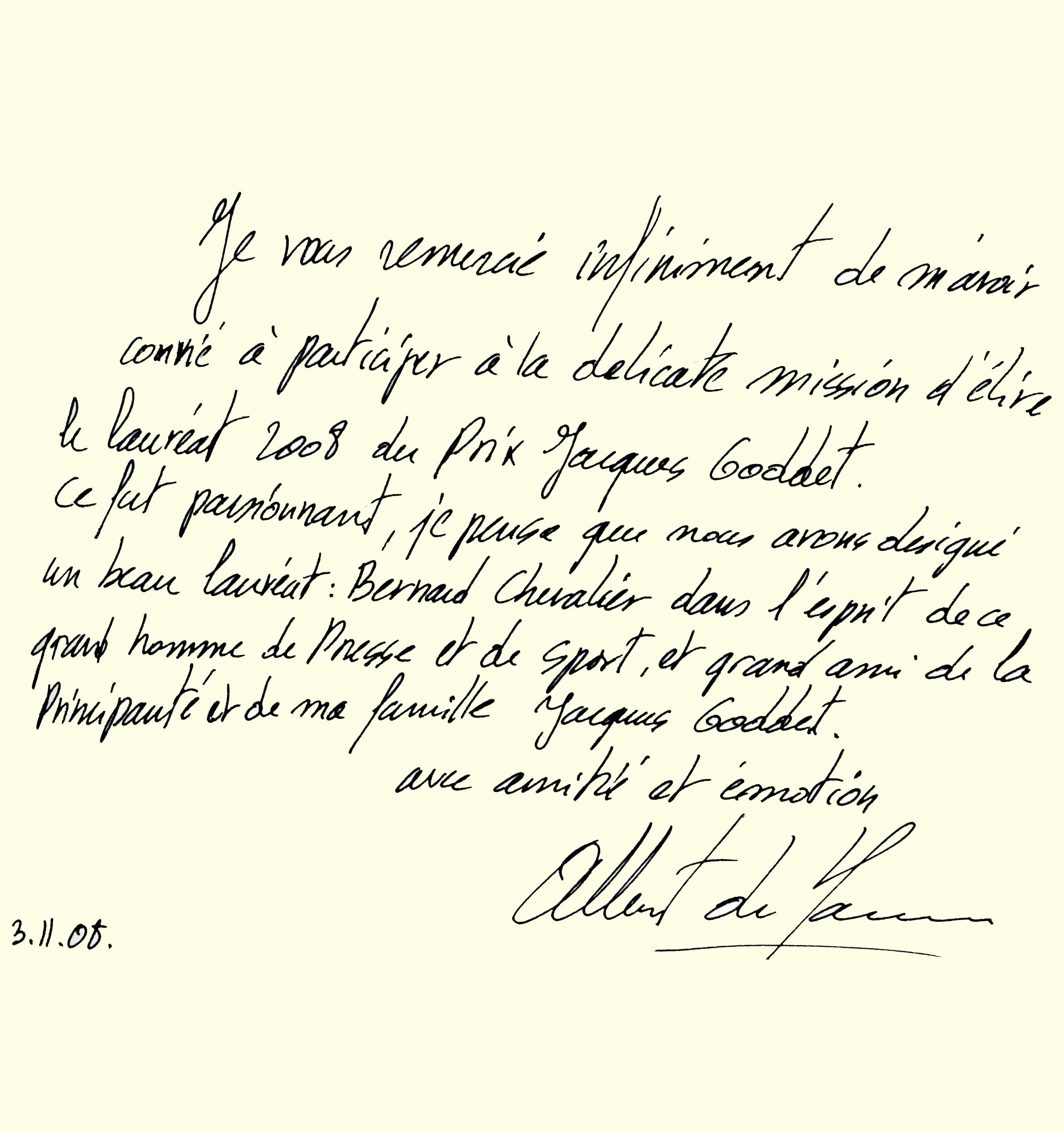 Livre d'or : dédicace du prince Albert II de Monaco