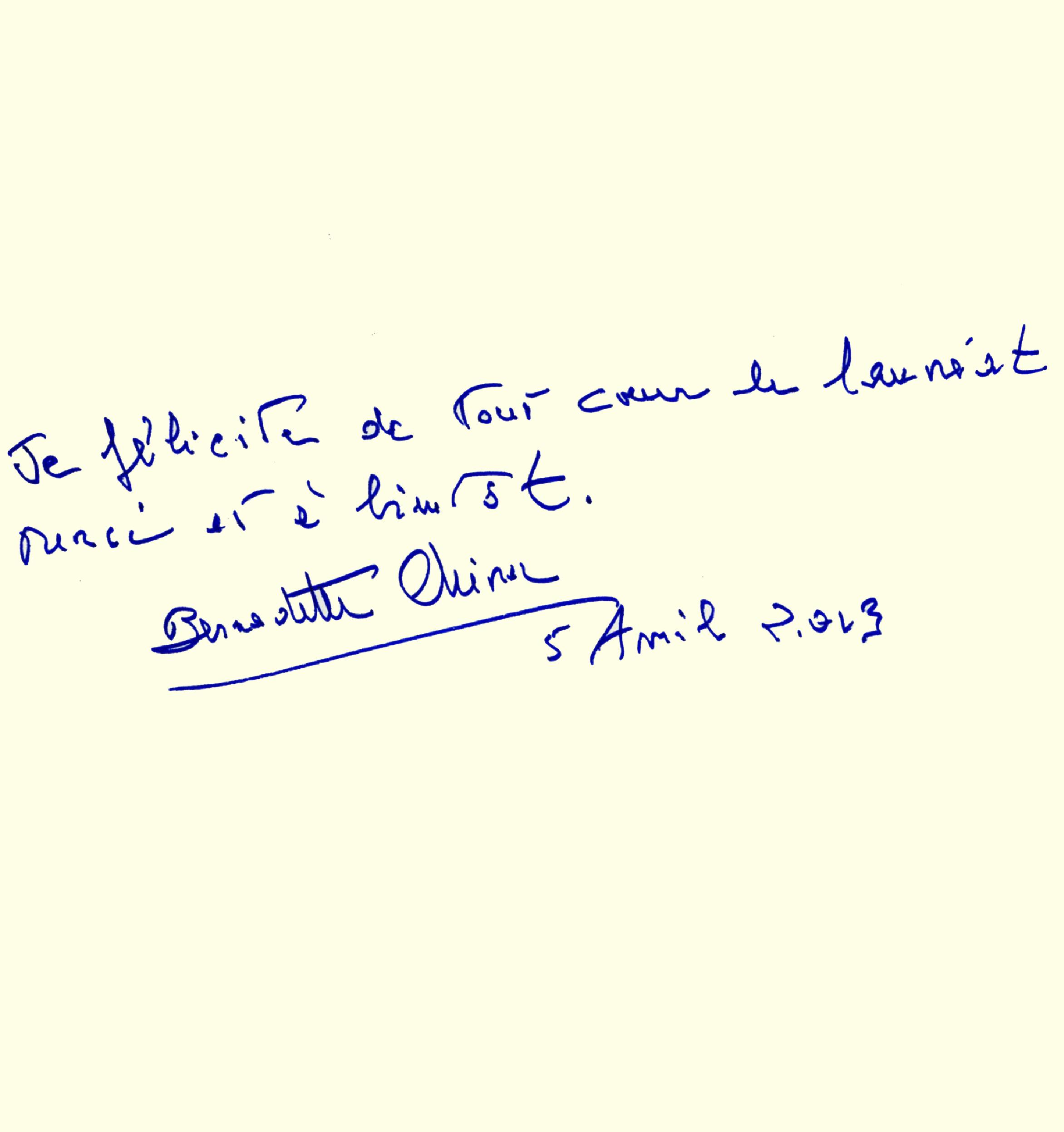 Livre d'or : dédicace de Bernadette Chirac