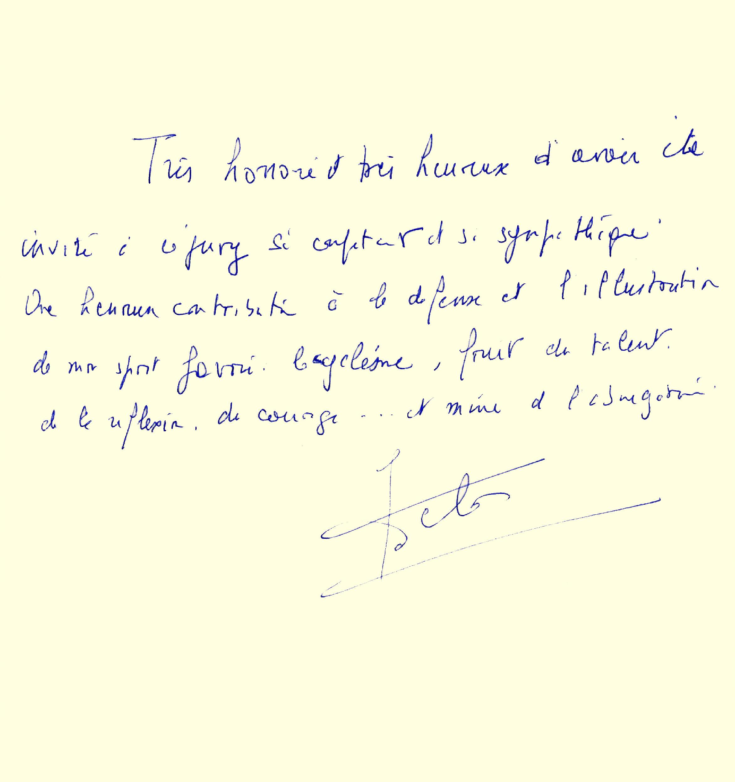 Livre d'or : dédicace de Jacques Delors
