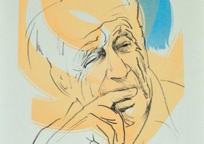 La lithographie spécialement créée par Raymond Moretti pour le 1<sup>er</sup> Prix Jacques-Goddet. Pendant plus de trente-deux années, ce même Raymond Moretti a dessiné les couvertures du <em>Magazine Littéraire</em>.