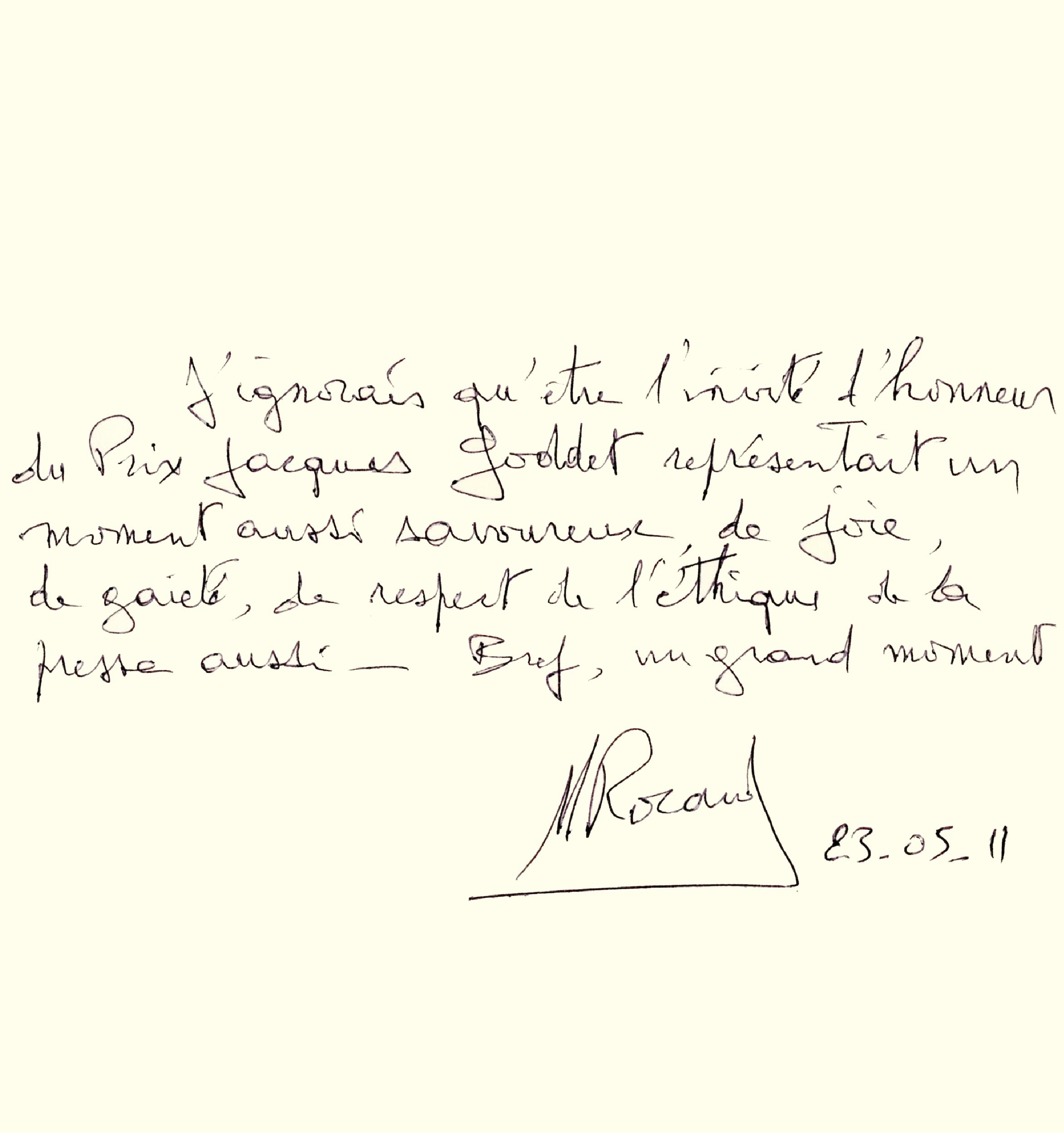 Livre d'or : dédicace de Michel Rocard