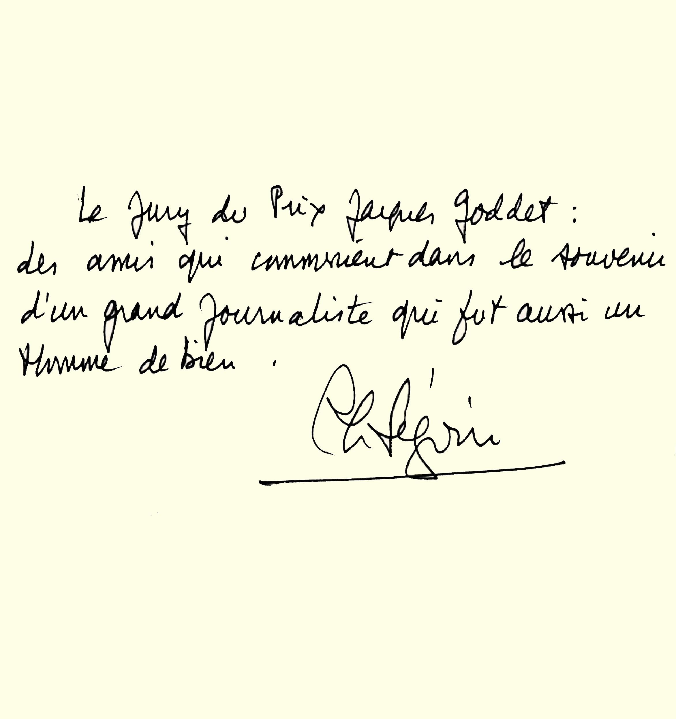 Livre d'or : dédicace de Philippe Séguin