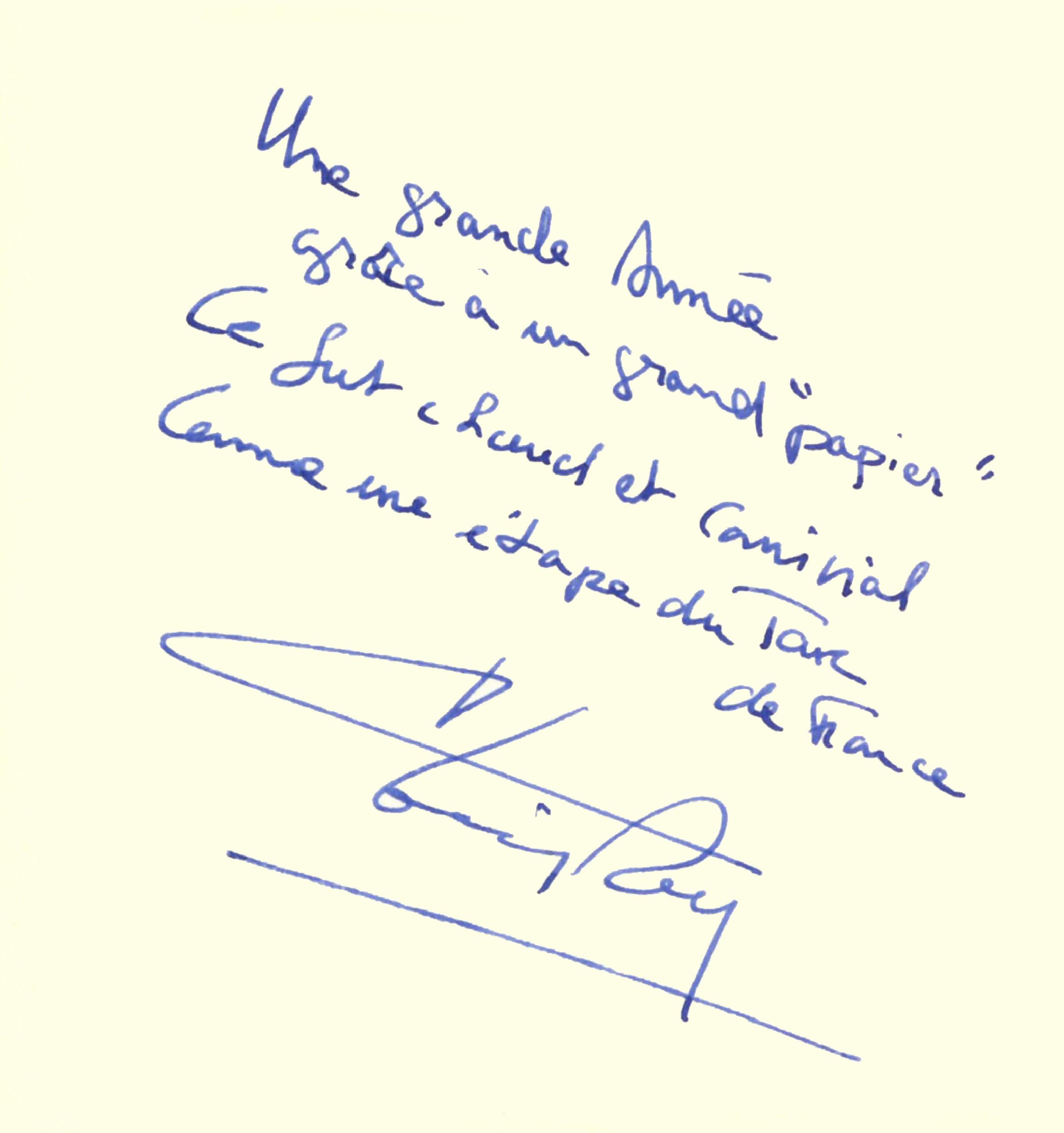 Livre d'or : dédicace de Thierry Rey
