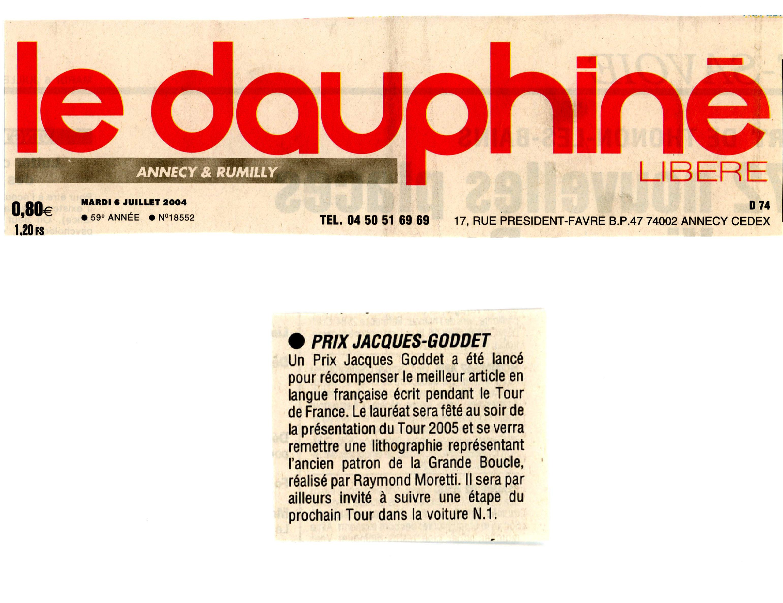 Presse - Le Dauphiné libéré - Prix Jacques-Goddet - mardi 6 juillet 2004