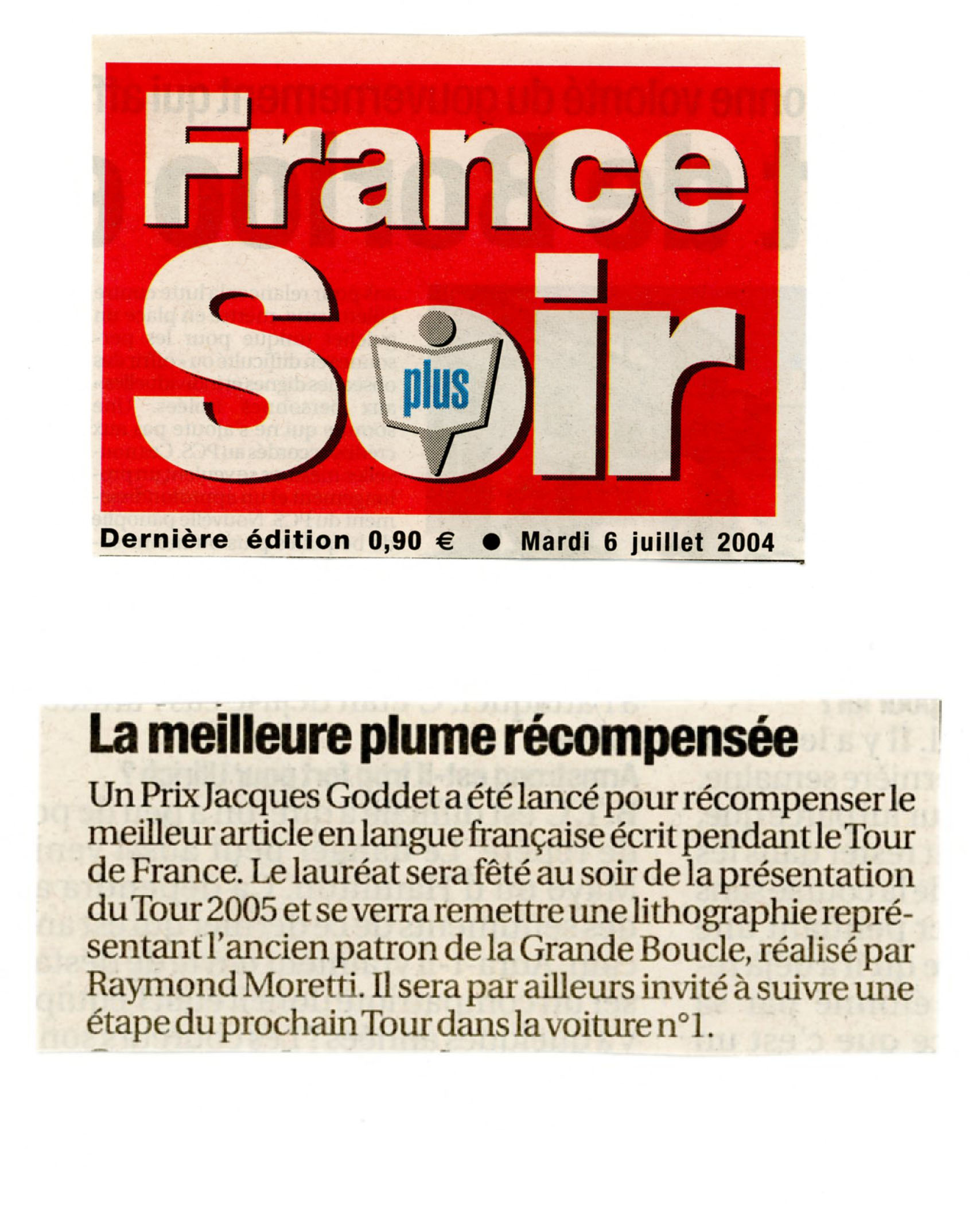 France Soir - Prix Jacques-Goddet - mardi 6 juillet 2004