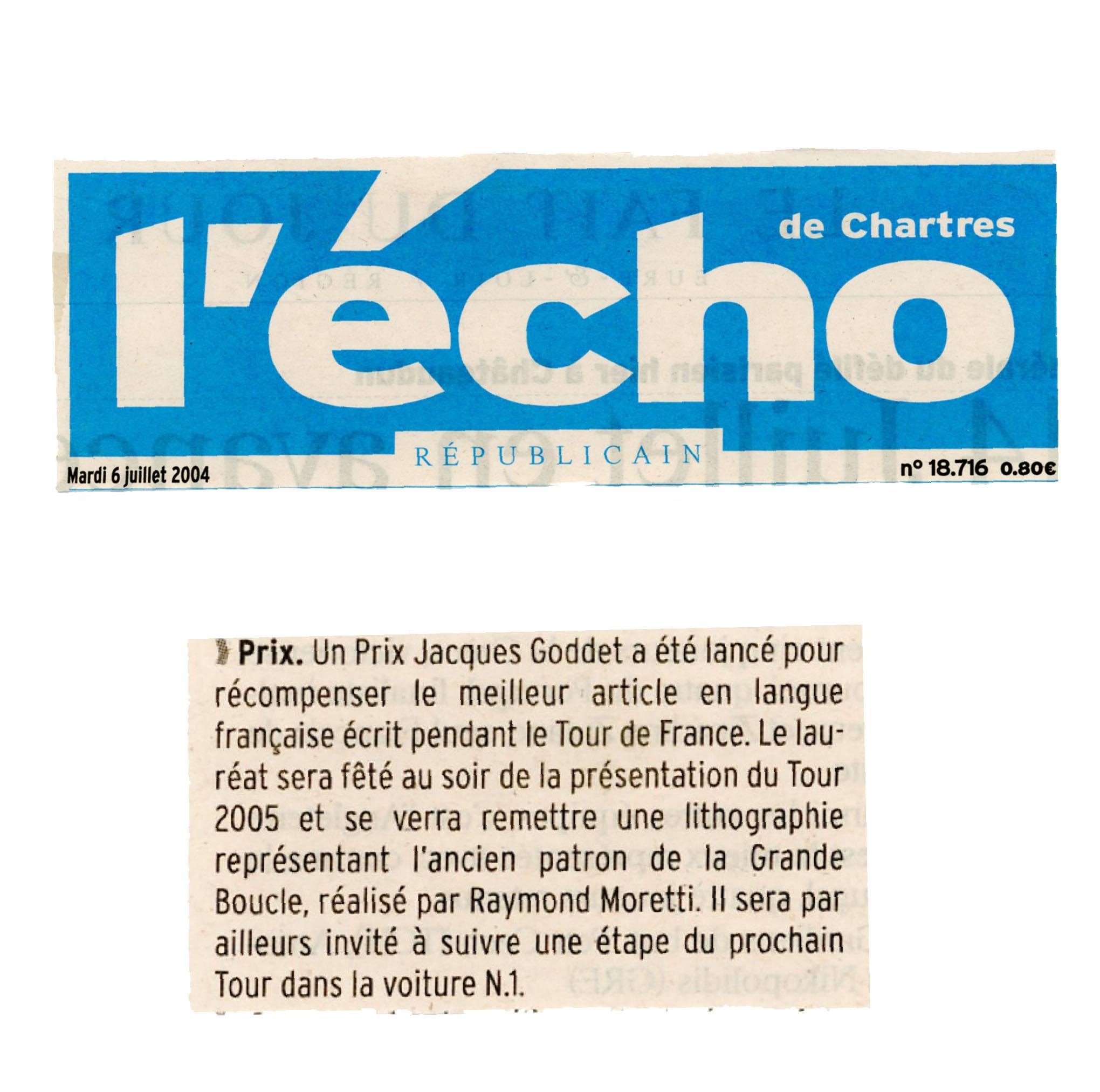 Presse - L'Echo républicain de Chartres - Prix Jacques-Goddet - mardi 6 juillet 2004