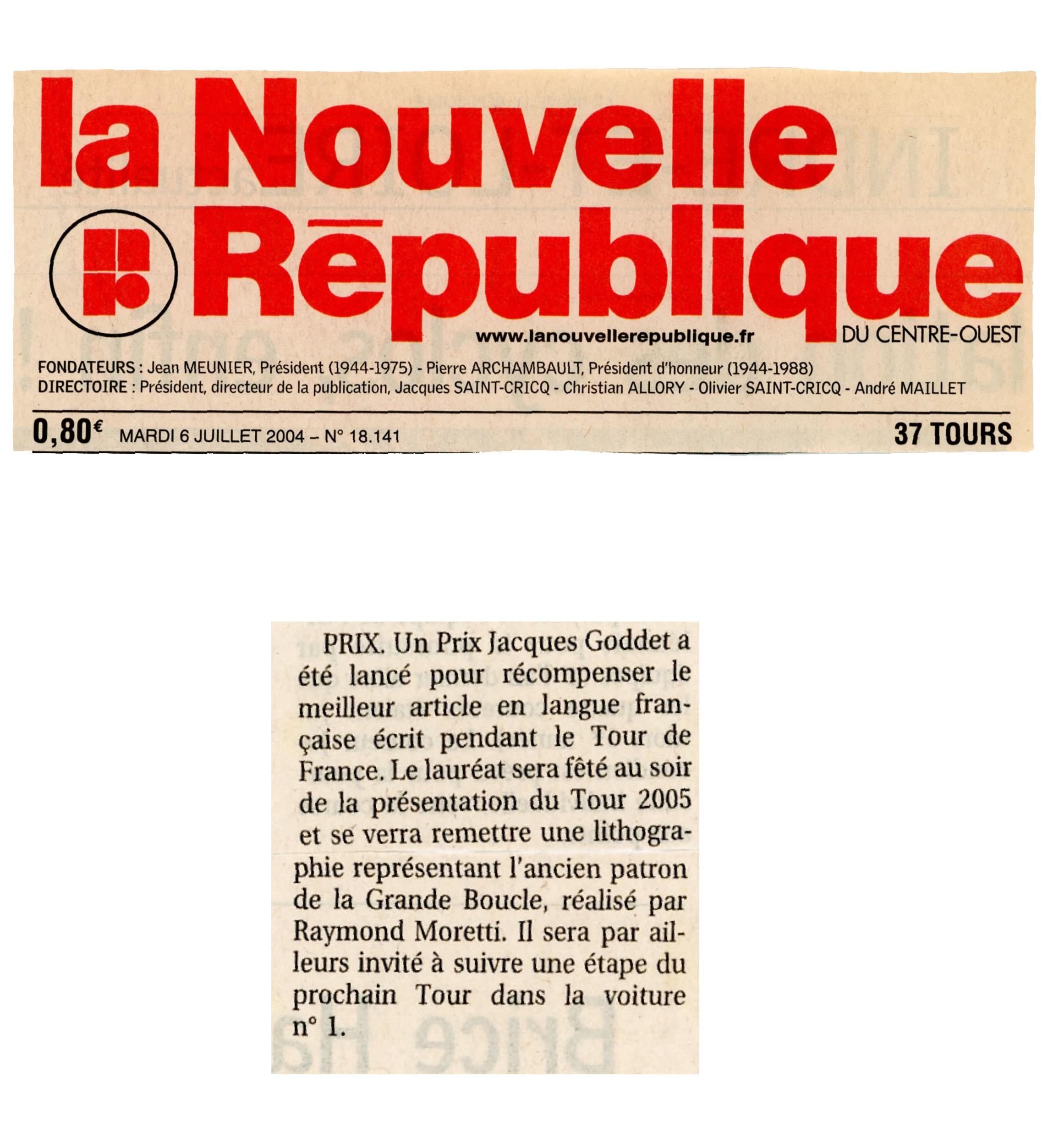 Presse - Nouvelle République - Prix Jacques-Goddet - mardi 6 juillet 2004