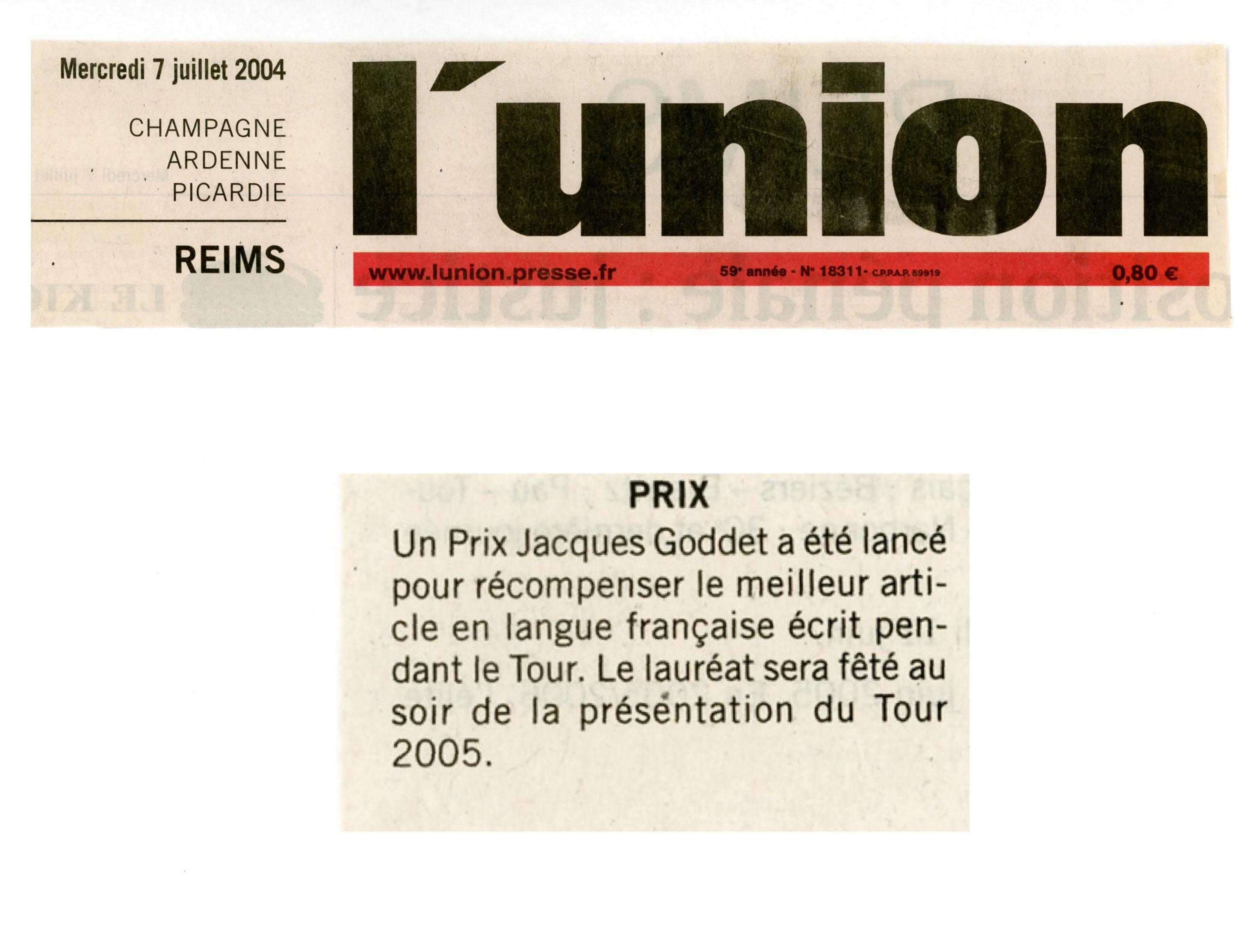 Presse - L'Union - Prix Jacques-Goddet - mercredi 7 juillet 2004