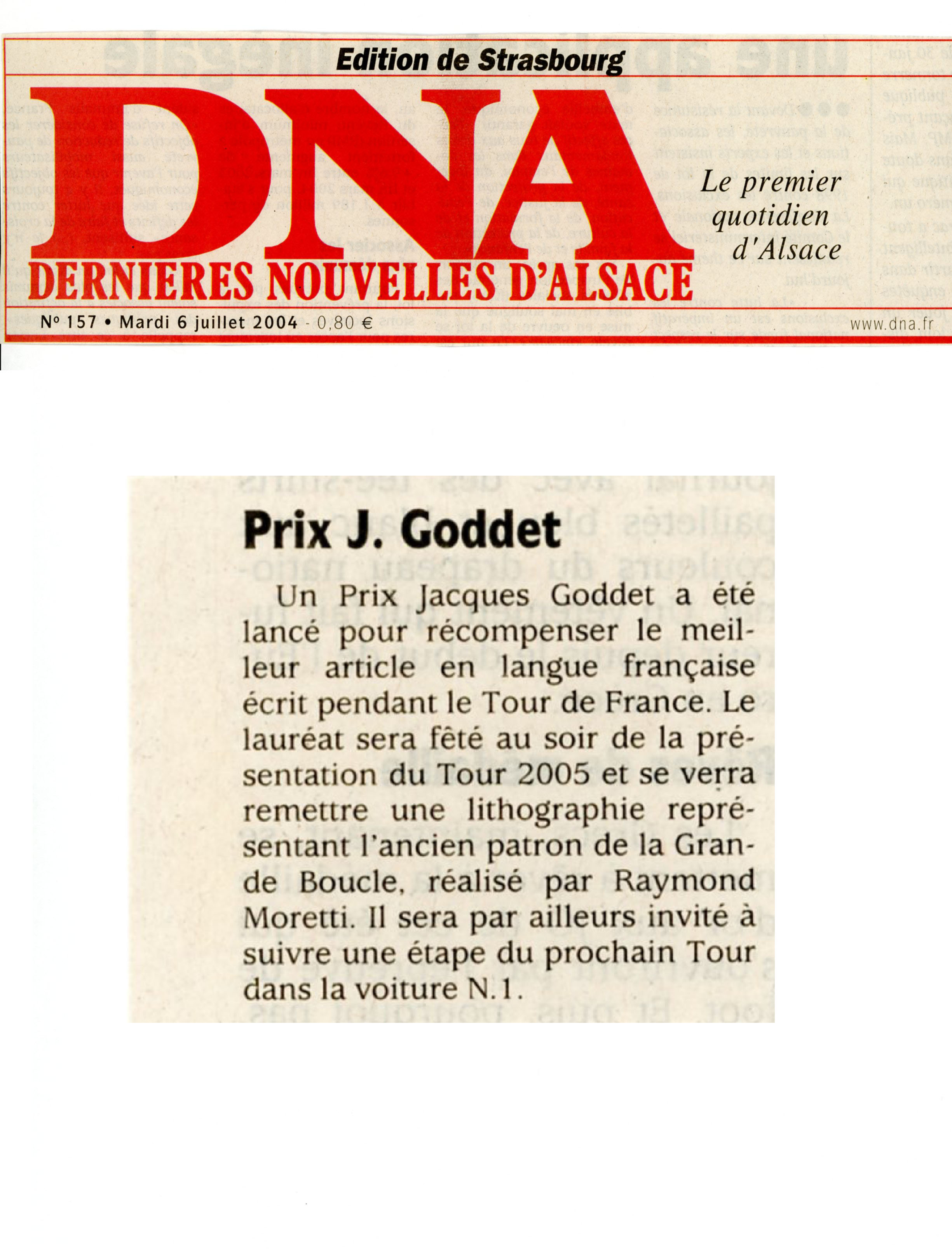 DNA - Prix Jacques-Goddet - mardi 6 juillet 2004