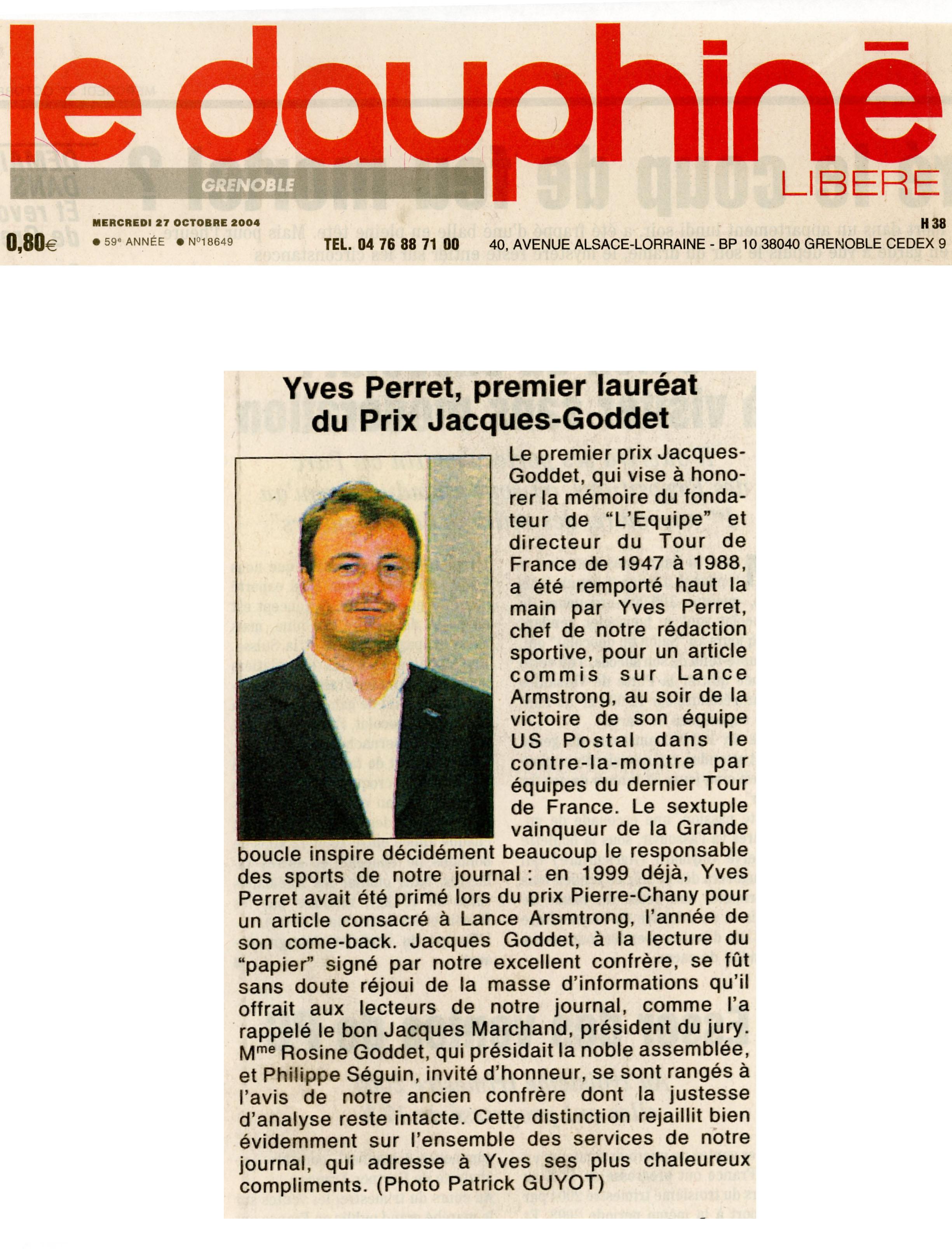 Presse - Le Dauphiné libéré - Prix Jacques-Goddet - mercredi 27 octobre 2004