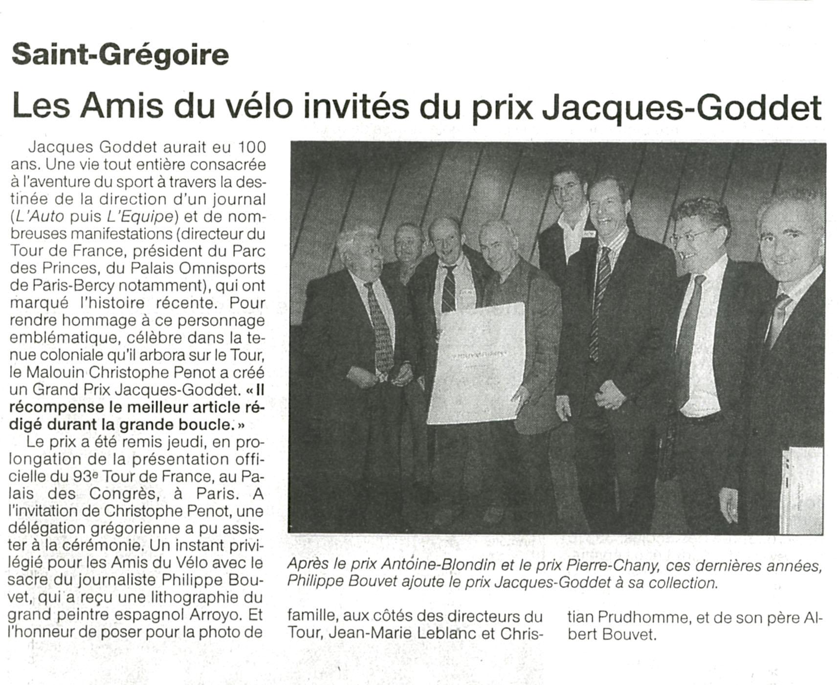 Ouest-France - Prix Jacques-Goddet - octobre 2005
