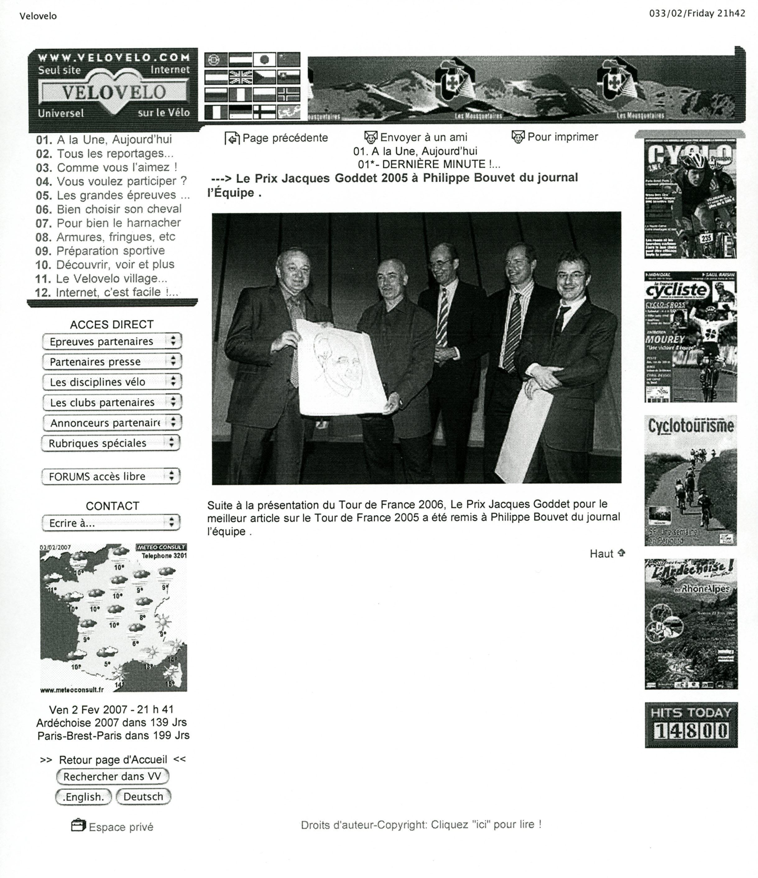 Presse - VeloVelo - Prix Jacques-Goddet - octobre 2006