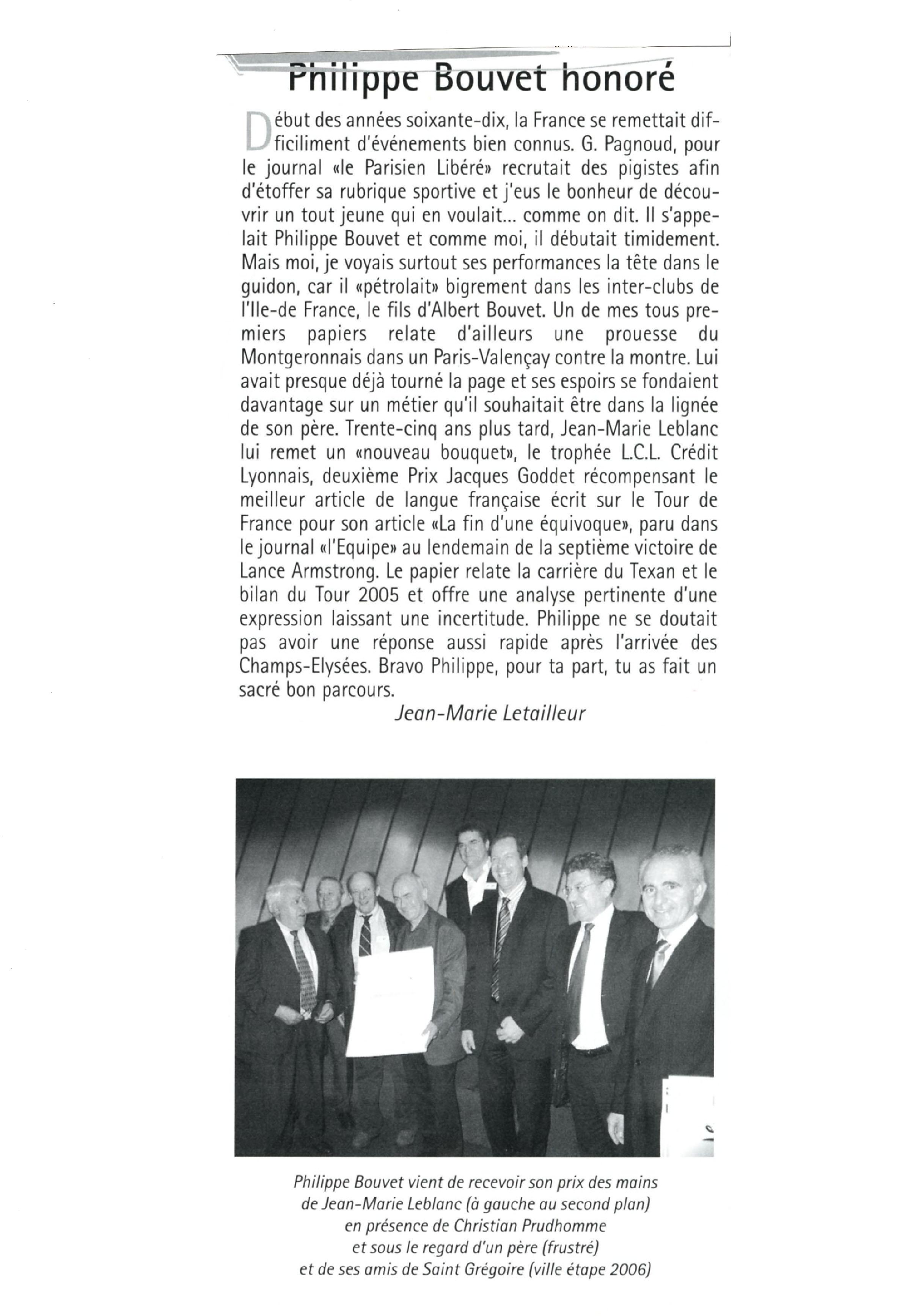 Presse - VeloStar - Prix Jacques-Goddet - octobre 2006