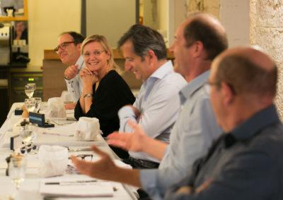 La table des jurés, côté présidence du Jury. Où Philippe Sudres, Christian Prudhomme, François-Xavier Lefranc, Isabelle Roche et Henri Montulet se montrent de joyeuse compagnie !