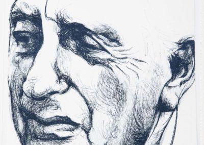 Jacques Goddet vu par l'artiste italienne Camilla Adami. Elle est la première femme à réaliser le portrait annuel qui a ensuite été tiré en lithographie, à Paris, dans l'atelier À Fleur de Pierre par Laurence Lépron et Étienne de Champfleury.
